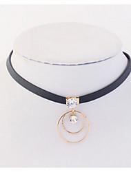 Femme Fille Collier court /Ras-du-cou Pendentif de collier Colliers chaînes Strass Forme de Cercle Bijoux Cuivre Strass Basique Original