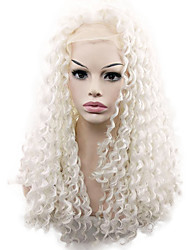 White Color Syntheic Curly Wig for Women High Quality Syntheic Hair Wig