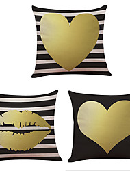 cheap -Set of 3  Golden Love Pattern  Linen Pillowcase Sofa Home Decor Cushion Cover