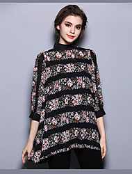 Women's Party Going out Vintage Street chic Sophisticated Spring Fall Blouse,Floral Turtleneck Polyester Opaque