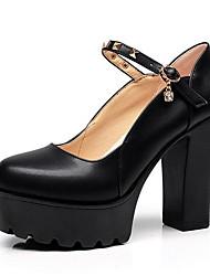 preiswerte -Damen Schuhe Leder Frühling Herbst Pumps High Heels Blockabsatz Spitze Zehe für Büro & Karriere Weiß Schwarz