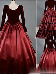 Une Pièce/Robes Gothique Cosplay Vêtrements Lolita Fuschia Rétro Mancheron Manches Courtes Ras du Sol Robe Pour Autre