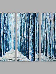 IARTS Oil Painting Modern Abstract Blue Woods Set of 3 Art Acrylic Canvas Wall Art For Home Decoration