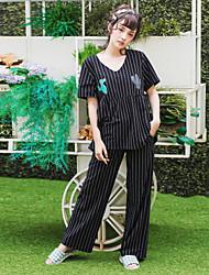 Women's Summer Short Sleeves Pajamas Set Striped Cactus Pattern Cosy Sleepwear