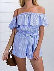 cheap -Women's Daily A Line Dress,Striped Boat Neck Mini Sleeveless Linen Summer Low Rise Micro-elastic Thin