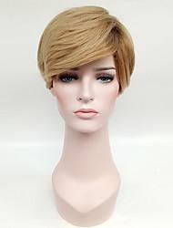 Syntetisk hår Parykker Ret Natural Hairline Mørke hårrødder Ombre-hår Lågløs Naturlig paryk Kort Blond