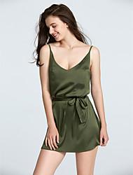 Ample Robe Femme Sortie simple / Chic de Rue,Couleur Pleine Col en V Mini Sans Manches Rose / Marron / Vert Polyester Eté / AutomneTaille