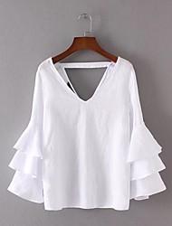 T-shirt Da donna Per uscire Casual Sensuale Semplice Moda città Estate,Tinta unita A V Cotone Manica lunga Sottile Medio spessore