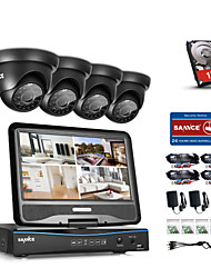 cheap -SANNCE® 4CH 1080P LCD DVR Weatherproof Home Surveillance Security System Supported 720P Analog AHD TVI IP Camera With 1TB HDD