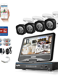 cheap -SANNC® 8CH 4PCS HD 720P DVR Weatherproof Security System LCD Monitor Supported Analog AHD TVI IP Camera