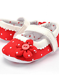 Baby Kids' Loafers & Slip-Ons First Walkers Fabric Summer Fall Party & Evening Dress Casual Flower Polka Dot Flat Heel Blushing Pink Red Flat
