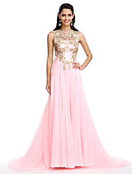 A-Line Jewel Neck Sweep / Brush Train Chiffon Formal Evening Dress with Appliques Sequins by TS Couture®