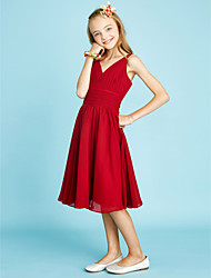 cheap -A-Line V Neck Knee Length Chiffon Junior Bridesmaid Dress with Ruched Criss Cross Side Draping by LAN TING BRIDE®