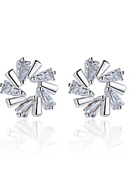 cheap -Women's Stud Earrings AAA Cubic Zirconia Floral Flower Style Flowers Sterling Silver Flower Jewelry Wedding Party Daily Casual Costume