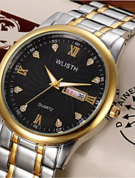 Men's Fashion Watch Quartz Alloy Band Casual Silver Gold