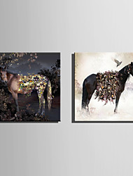 E-HOME Stretched Canvas Art Flowers And Horses  Decoration Painting One Pcs