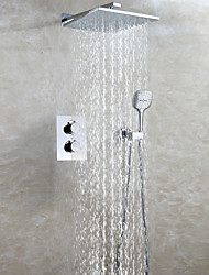 Thermostatic Bath Shower Faucet Set / 10 Inch Rain Bathroom Shower Head / Mixer Valve With Easy-Installation Embedded Box / Chrome / Contemporary