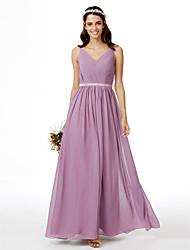 cheap -A-Line V Neck Floor Length Chiffon Bridesmaid Dress with Sash / Ribbon Pleats Criss Cross by LAN TING BRIDE®