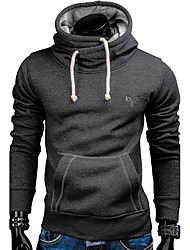 cheap Arabian Clothing-Men's Active / Basic Long Sleeve Slim Hoodie - Solid Colored / Embroidered Hooded Dark Gray L / Fall / Winter