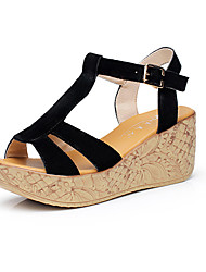 Women's Sandals Club Shoes Leather Summer Casual Wedge Heel Almond Pool Ruby Fuchsia Black 2in-2 3/4in