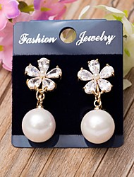 Women's Clip Earrings Floral Imitation Pearl Cubic Zirconia 18K gold Daisy Jewelry ForWedding Party Special Occasion Anniversary Birthday