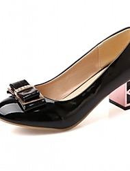 Feminino Sapatos Couro Envernizado Primavera Outono Conforto Inovador Saltos Caminhada Salto Grosso Ponta Redonda Pedrarias Laço Poa Para