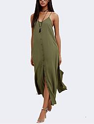 Damer Simpel I-byen-tøj Løstsiddende Kjole Ensfarvet,Rund hals Maxi Uden ærmer Polyester Sommer Alm. taljede Mikroelastisk Medium