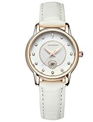 Mulheres Relógio de Moda Quartzo Couro Banda Casual Preta Branco Marrom Rose
