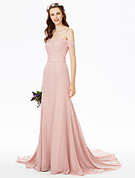 Sheath / Column Off-the-shoulder Sweep / Brush Train Chiffon Lace Bridesmaid Dress with Lace Sash / Ribbon by LAN TING BRIDE®