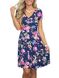 Women's V Neck Floral Beach Vintage Print High RIse Swing Dress
