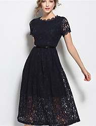 Women's Party Going out Casual/Daily Vintage Simple Street chic Lace Dress,Solid Round Neck Midi Short Sleeve Polyester Taffeta Viscose