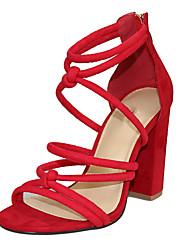 Feminino Sandálias Tecido Verão Ziper Salto Grosso Preto Vermelho 10 a 12 cm