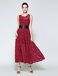 SUOQI Women Dresses Party Vintage Lace Swing Dress Solid Round Neck Sleeveless High Waist Two Piece Dress