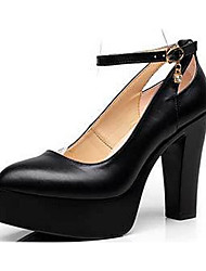 cheap -Women's Heels Formal Shoes Leather Spring Fall Office & Career Chunky Heel Black White 5in & over