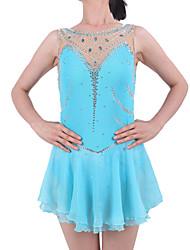 Robe de Patinage Artistique Femme Fille Patinage Robes Bleu ciel Spandex Strass Utilisation Tenue de Patinage Fait à la main A Bijoux