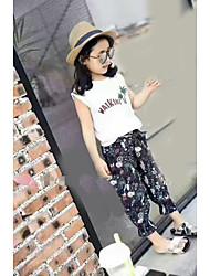 Dívčí Bavlna Jedna barva Tisk Léto Soupravy Sady oblečení