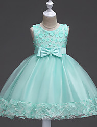 cheap -Ball Gown Short / Mini Flower Girl Dress - Satin / Tulle Sleeveless Jewel Neck with Appliques / Bow(s) / Sash / Ribbon by / Elegant