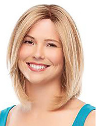Straight Ombre Blonde Inclined Bangs Synthetic Hair Pieces Full Lace Medium Length Femme Bobo Style Wig