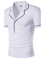cheap -Men's Daily Casual Summer T-shirt,Solid Round Neck Short Sleeves Cotton Spandex Medium