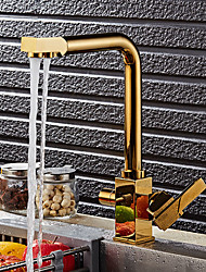cheap -Kitchen faucet - Contemporary / Art Deco / Retro / Modern Ti-PVD Standard Spout Vessel / Two Handles One Hole