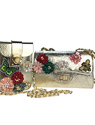 cheap -Women's Bags Poly urethane Bag Set 2 Pieces Purse Set Rhinestone Beading Sequin Petal Appliques Embroidery Pearl Detailing Floral Pattern