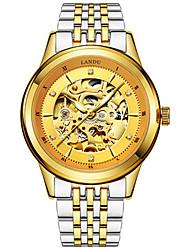 Bărbați Ceas Schelet ceas mecanic Mecanism automat Rezistent la Apă Oțel inoxidabil Piele Bandă Argint Auriu