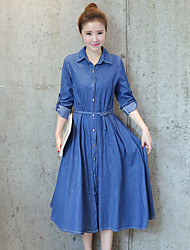 Women's Casual/Daily Simple Denim Dress,Solid Shirt Collar Midi Long Sleeve Polyester Summer Mid Rise Inelastic Thin