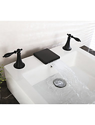 cheap -Widespread Waterfall Single Handle Two Holes Black , Bathtub Faucet