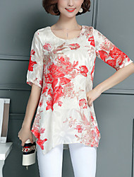 Women's Casual/Daily Street chic Summer Blouse,Print Round Neck ½ Length Sleeve Stretch Chiffon Thin