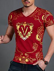 billige -V-hals Tynd Herre - Ensfarvet / Geometrisk Bomuld, Trykt mønster Aktiv / Boheme / Gade Sport T-shirt / Kortærmet