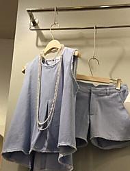 Manches Ajustées Pantalon Costumes Femme,Couleur Pleine Décontracté / Quotidien Sortie simple Eté Sans Manches Col Arrondi