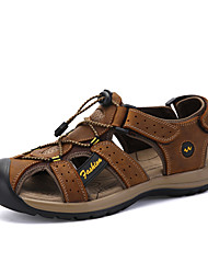 Men's Sandals Comfort Nappa Leather Summer Athletic Outdoor Water Shoes Comfort Magic Tape Flat Heel Light Yellow Brown Flat