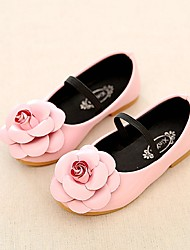 cheap -Girls' Shoes Leatherette Summer Fall Comfort Ankle Strap Flower Girl Shoes Light Soles Flats Flower for Casual Dress Black Red Pink
