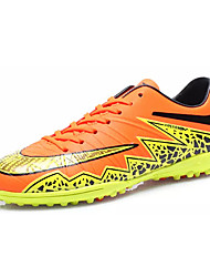 Soccer Shoes Men's Athletic Shoes Comfort PU Spring Fall Outdoor  Lace-up Flat Heel Blue Green Orange Under 1in